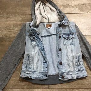 American Eagle Jean jacket with sweatshirt sleeves
